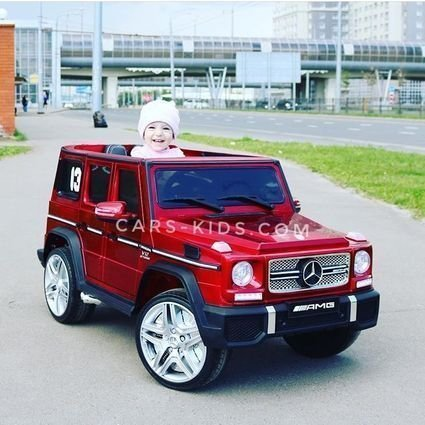 Электромобиль Mercedes-Benz G65 AMG белый (АКБ 12v 7ah, колеса резина, сиденье кожа, пульт, музыка)