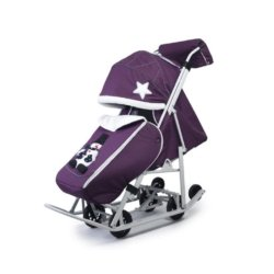 Санки-коляски Pikate Toy пурпурный (мембранная ткань, овчина, 3 положения спинки, краска рамы белый)