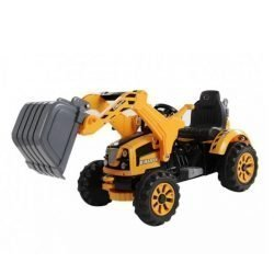 Детский электромобиль трактор на аккумуляторе желтый - JS328A-Y (колеса накладки резина, ковш)